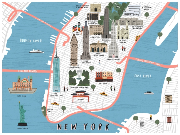 GRADUATE WORK MAPS Mdx Illustration - New york city map drawing